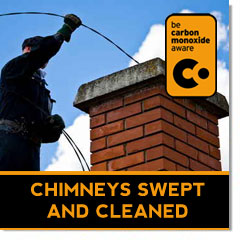 picture of chimney sweep cleaning a chimney